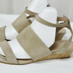 Tory Burch North Beige Suede Logo Open Toe Strappy